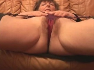 Hairy Granny in pantyhose plays with undies then takes off
