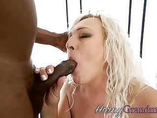 Granny blows black dick