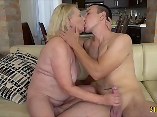 Horny light-haired granny enjoys stiff cock in her vagina