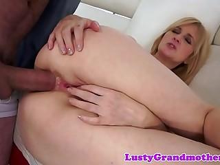 Teasing grandma screwed in her tight asshole