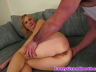 Buttfucked granny gets her asshole jizzed on