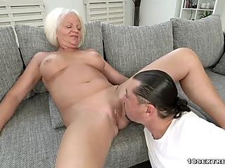 Blond grandma masturbates and acquires drilled