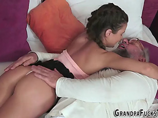 Legal Age Teen acquires old dick facial cumshot